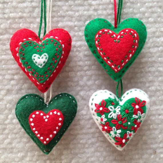 Red green and white embroidered felt heart Christmas by Lucismiles, $13.00