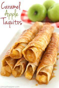 Caramel Apple Taquitos -flour tortillas loaded with apple pie filling, cinnamon sugar, and caramel. Great fall dessert.