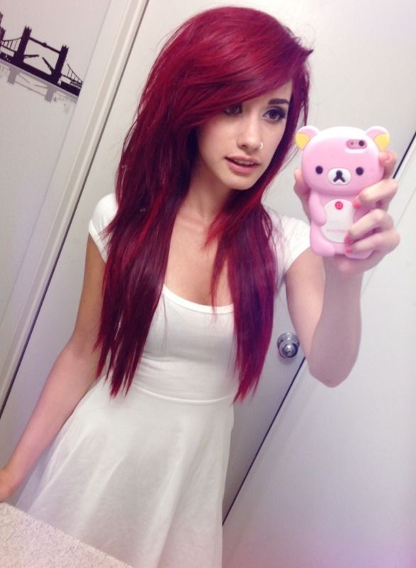 I want her hair. It's cute. Just the cut and style not the color..I don't think I would look good with red. Idk.