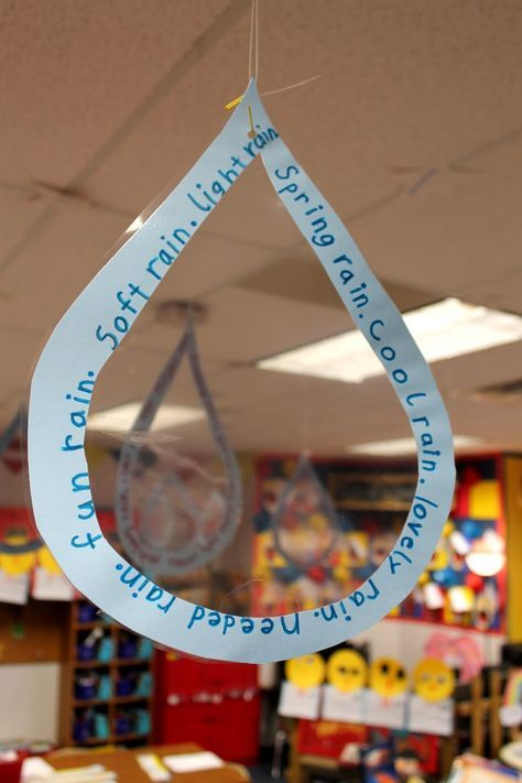 """We had fun celebrating poetry and Shel Silverstein this past week. After reading """"Lazy Jane"""" by Shel, we wrote our own concrete poems about water.  To publish we wrote our poems on a raindrop shape, and laminated them to look like real raindrops."""
