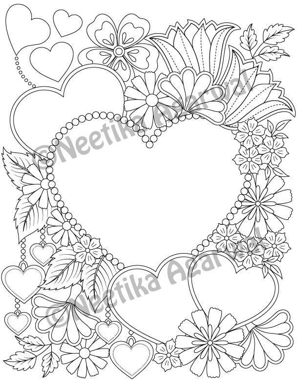 Valentine Hearts - Valentine - Adult Coloring Page - Valentine\'s Day ...