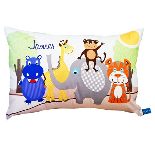 Zoo theme Personalised Cushion for Boys Decor. Prices start at $34