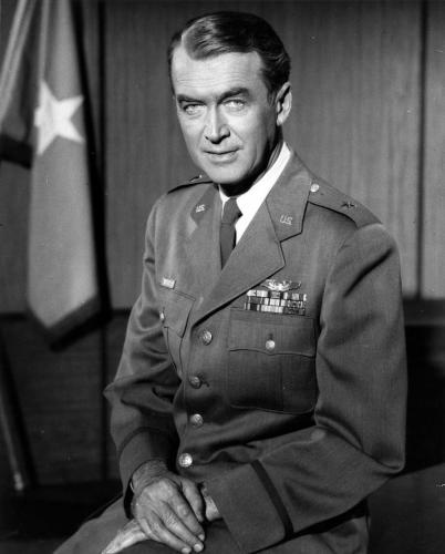 """James M. """"Jimmy"""" Stewart (1908-1997), Colonel, U.S. Army Air Force 1941-45. WW II. Rejected by the draft for being underweight, he enlisted as a private in 1941 and became the first major American movie star to wear a military uniform in WW II. Promoted to 2nd Lt. in 1942, he flew 20 bombing missions over Europe earning 2 Distinguished Flying Crosses and 4 Air Medals. In 1968 he retired from the USAF Reserve a Brig General."""