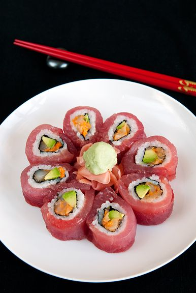My sushi will not look quite this pretty, but it will still taste good... Some days I just can't wait for dinner!