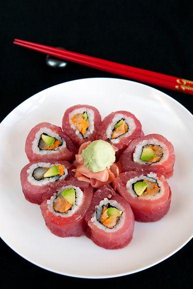 start with masago (flying fish roe) scallops, avocado, and maguro (tuna)