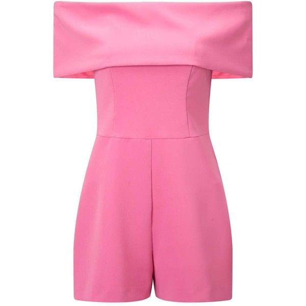 Miss Selfridge Pink Deep Bardot Playsuit (285 SAR) ❤ liked on Polyvore featuring jumpsuits, rompers, pink candy, pink romper, pink rompers, playsuit romper and miss selfridge