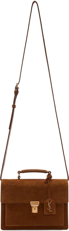 SAINT LAURENT Brown Medium High School Satchel. #saintlaurent #bags #shoulder bags #hand bags #lining #satchel #suede #