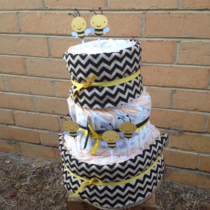 What will it bee? Nappy cake created using Freshgifts bee on Etsy.