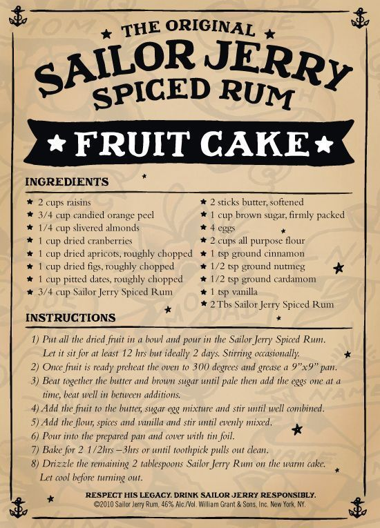 FOOD - FRUITCAKE - Sailor Jerry Spiced Rum (2010)   (RECIPE)