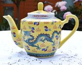 Chinese Lucky Dragon Porcelain Teapot - Yellow Glazes Base with Turquoise Dragon Design  - CHINA