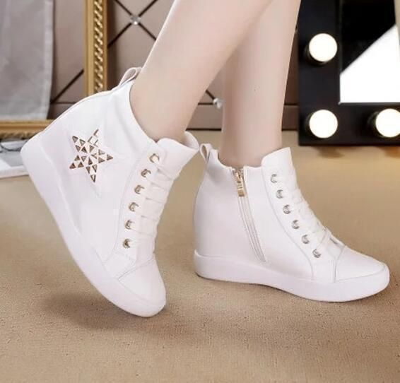 Womens Girls High Top Sneakers Lace Up Wedge Heels Casual Trainers Studded Shoes