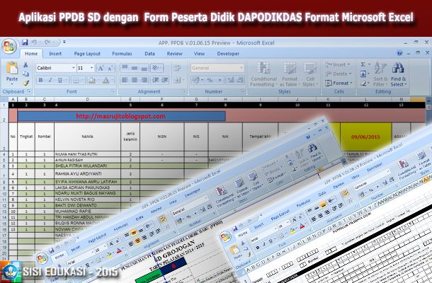 [.xls otomatis] Aplikasi PPDB SD sesuai Formulir PD DAPODIKDAS menggunakan Microsoft Excel