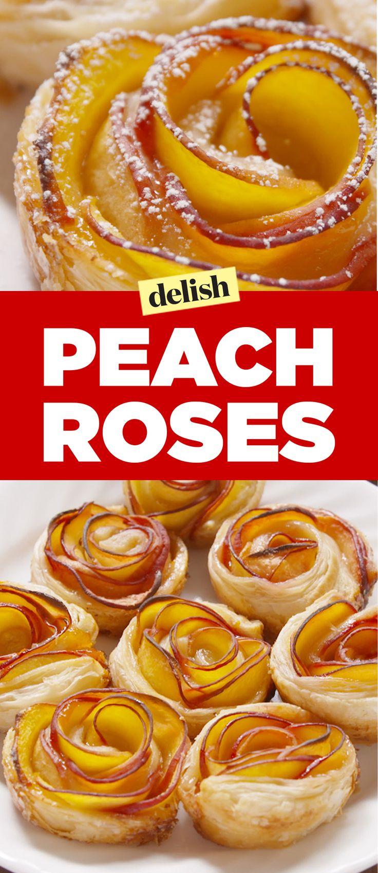 Puff Pastry Peach Roses Recipe. Will you accept this peach rose? Get the recipe on Delish.com.