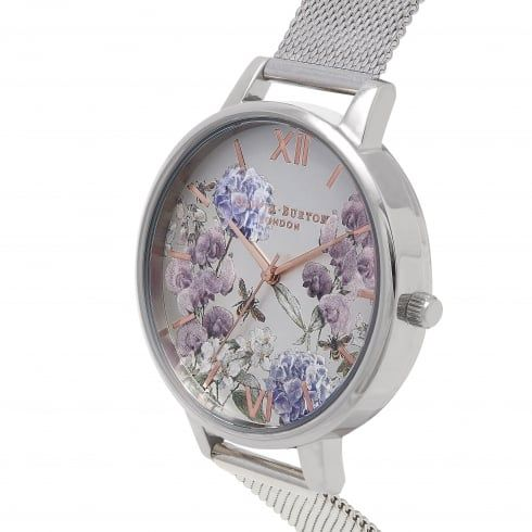 Parlour Bee Blooms Rose Gold & Silver Mesh -  from Olivia Burton UK