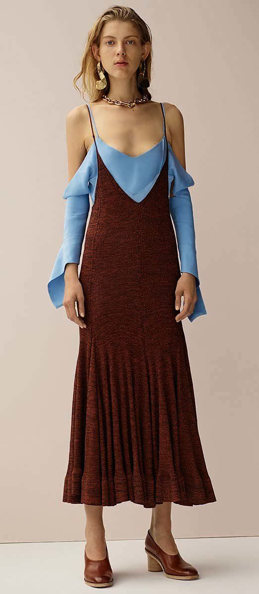 Céline Pre-Fall 2015 - not often you see cerulean paired with claret.