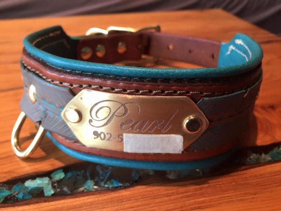 Personalized Hand Tooled Leather Dog Collar (Lined)