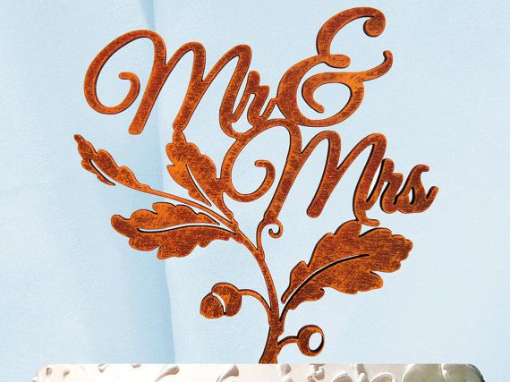 Check out Mr & Mrs Cake Topper, Wedding Cake Topper, Wedding decor, Fall Wedding, Autumn Wedding Cake Topper on monogramcustomart