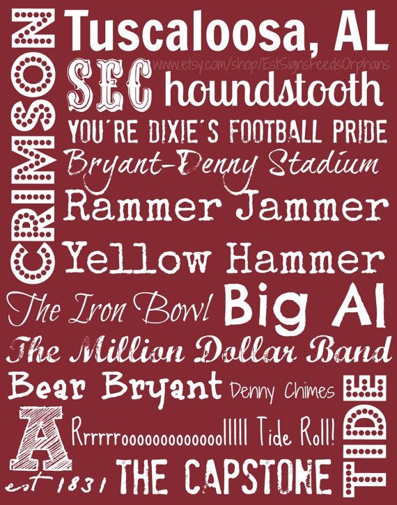Give this gift-wrapped sign to your favorite Bama fan and feed an orphan for a month!! University of Alabama 11x14 canvas Subway by EstSignsFeedsOrphans, $30.00