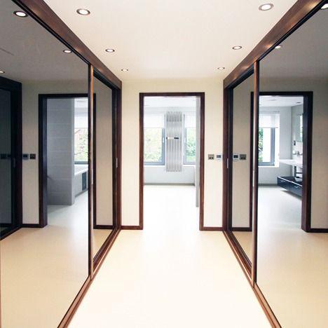 Neatsmith   Walnut Framed Sliding Doors with Oversize Grey Mirror Panels