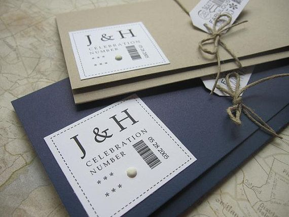 Boarding Pass Wedding Invitation package First by JennaBdesigns, $6.75