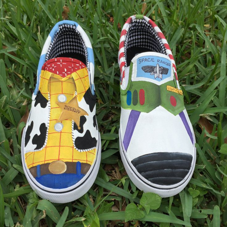 Hand Painted Woody and Buzz Lightyear  inspired canvas shoes- made to order!- Vans by SistersHead2Toe on Etsy https://www.etsy.com/listing/239622625/hand-painted-woody-and-buzz-lightyear