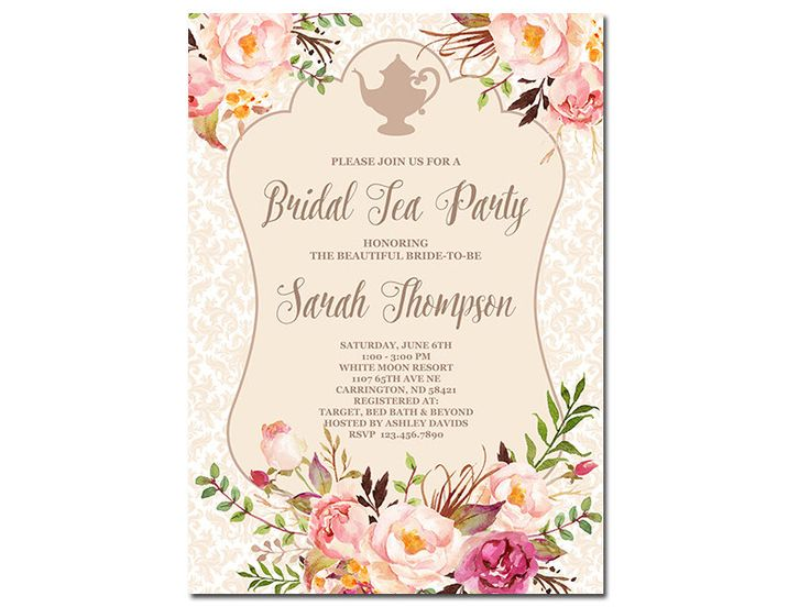 105 best tea party bridal shower images on pinterest bride shower bridal tea party invitation floral bridal shower invitation high tea invitation shabby chic filmwisefo Images