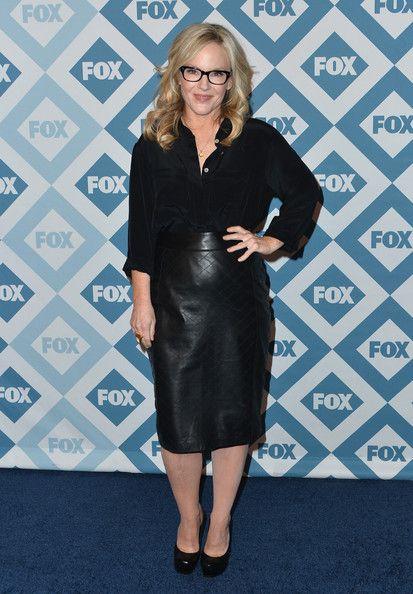 Pencil Skirt Lookbook: Rachael Harris wearing Pencil Skirt (1 of 4). Rachael Harris was stylish at the Fox All-Star party in her black-on-black ensemble, consisting of a leather skirt and a button-down.