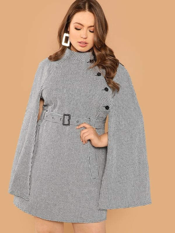9f60970743 Cheap Plus Self Belted Houndstooth Print Cape Coat for sale Australia |  SHEIN