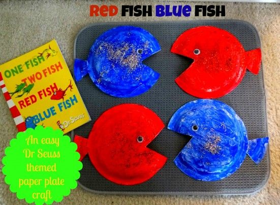 We love Dr. Seuss books so yes the countdown to his birthday means Seuss themed crafts, edible goodies, books...and more books. This week I've shared an easy craft Bunny Boo made with a little help from Mama and yes, your little ones will love making their very own Red Fish Blue Fish story