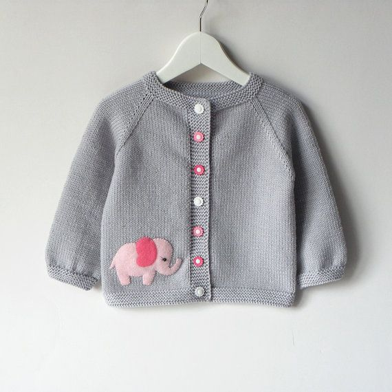 Pink elephant sweater silver grey baby girl jacket merino wool baby cardigan MADE TO ORDER