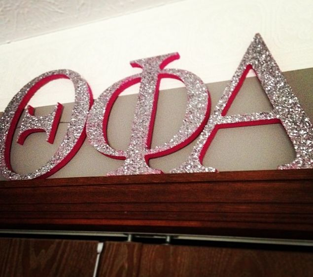 greek letters theta phi alpha gllitter and pink love it decorating the