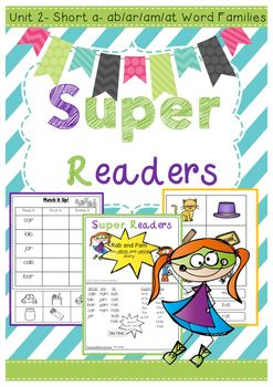 This is the second unit of my Super Readers series, focussing on the short vowel 'a' sound. The Super Reader series allows students to become familiar with word families as well as sight words.Meet Pam and Rab ! The superhero characters that will help your students through reading booklets, activities, games and fun printables.
