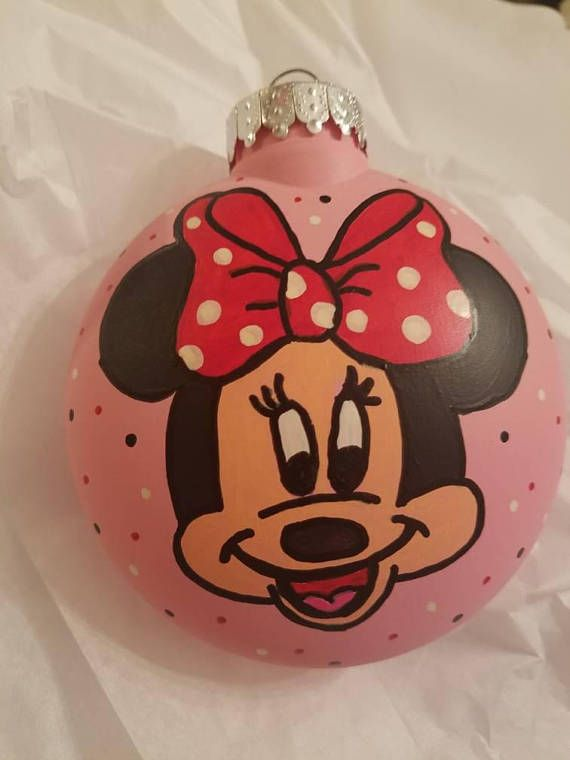 Minnie Mouse Mickey Mouse inspired ornament hand painted ...