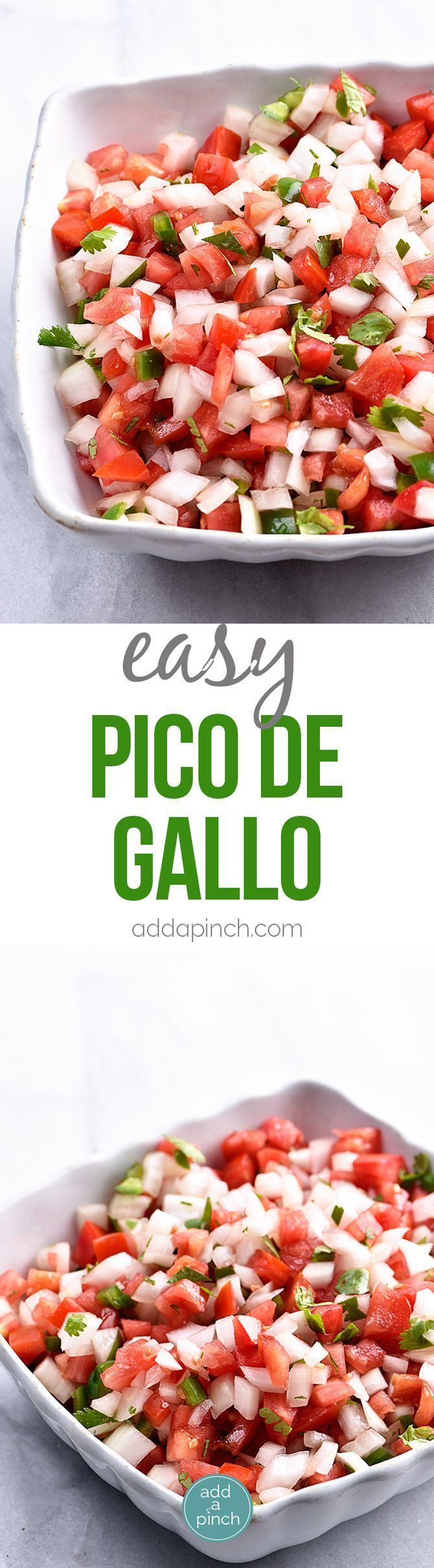 Pico de Gallo Recipe - Pico de Gallo has to be one of the simplest recipes to make and adds so, so, so much flavor to any number of dishes as a topping or just right by itself on a chip! // http://addapinch.com