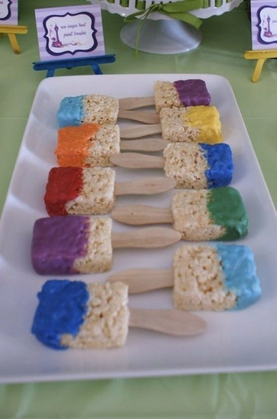 Super cute and fun - Make rice crispy treats and then dip them in white chocolate colored with food coloring. Add a popsicle stick and you've got a paint brush!