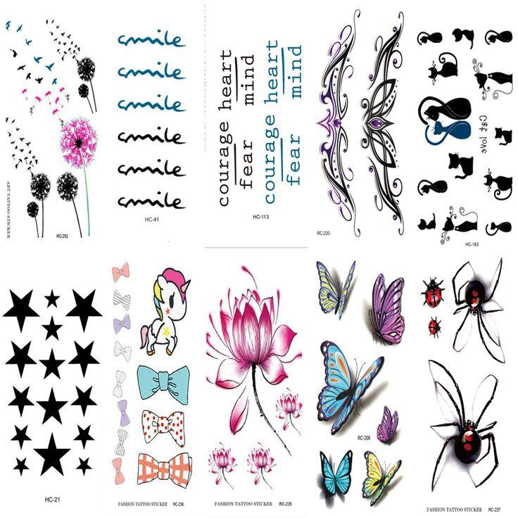 10 PCS Pria Wanita Tato Palsu lengan Banyak hewan lucu Kucing kupu-kupu bunga Tubuh Art Flash Waterproof Sementara Tato Stiker