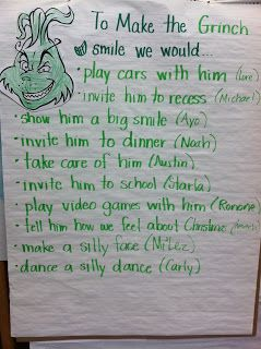 """""""How to Make a Grinch Smile""""- perfect writing prompt for around the holidays! We do """"Grinch Day"""" at school, this could be a fun writing for it!"""