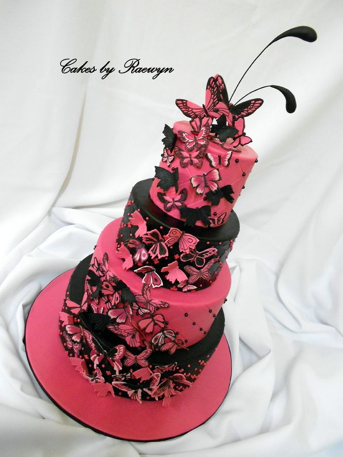 Hot Pink And Black Quilted Wedding Cake With 80 Handcut