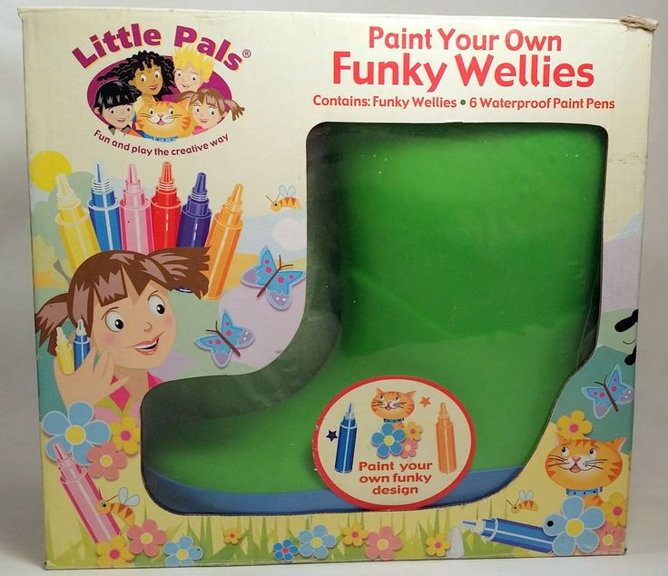 Kids Rain Boots Paint Your Own Funky Wellies Wellingtons Rubber Muck Boots US11 #LittlePals #Boots