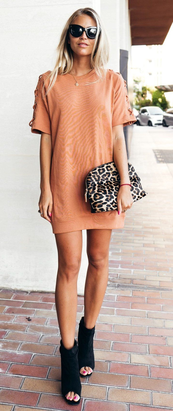 #winter #outfits /  Orange Dress // Leopard Clutch // Black Open Toe Booties