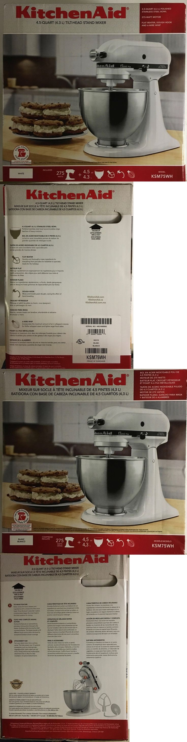 Countertop mixers 133701 new kitchenaid ksm75wh classic