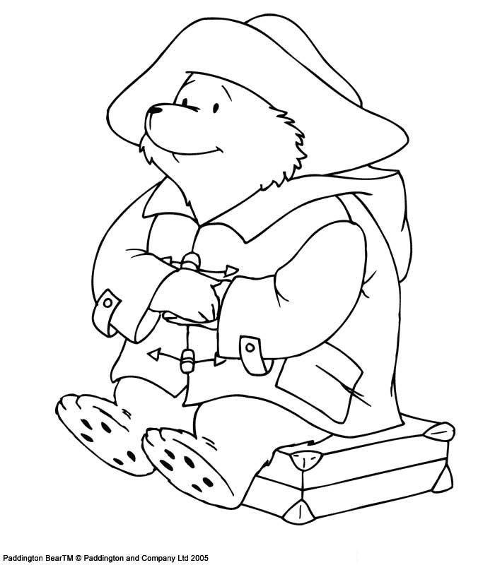 coloriage l ours paddington assis sur sa valise