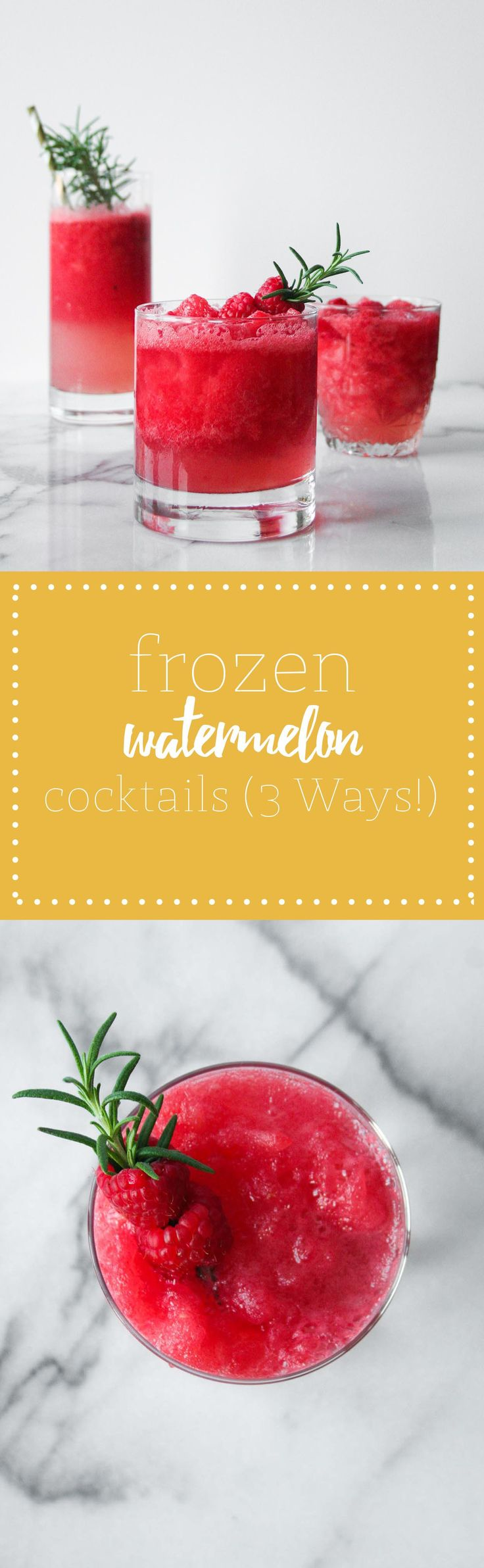 Bright and refreshing frozen watermelon cocktails (3 ways!) - Perfect for summer sippin'! | Hungry by Nature