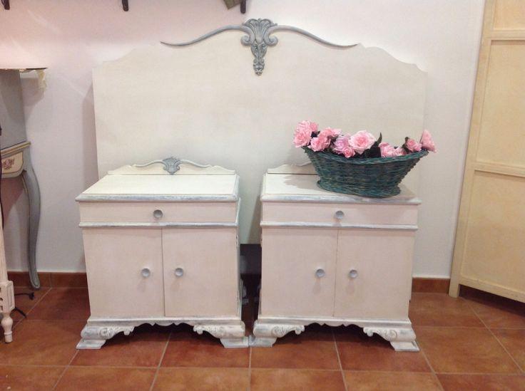 Cabecero y mesillas pintados con autentico chalk paint - Mesas pintadas a la tiza ...