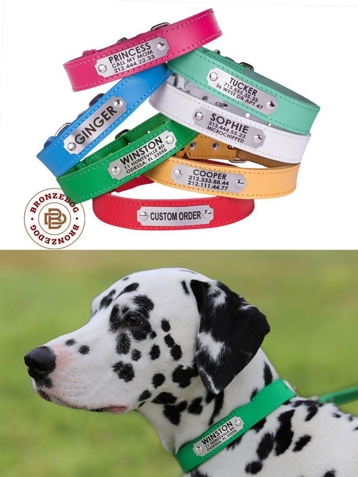 Dog Collar, Leather Dog Collar, Custom Leather Dog Collar, Personalized Leather Dog Collar by BronzeDog on Etsy https://www.etsy.com/listing/479411859/dog-collar-leather-dog-collar-custom