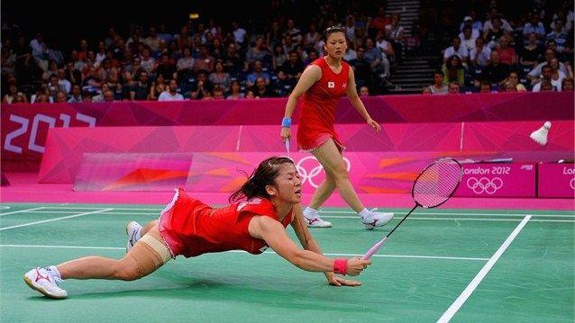 Yu Yang and Wang Xiaoli of China compete in the Women's Doubles