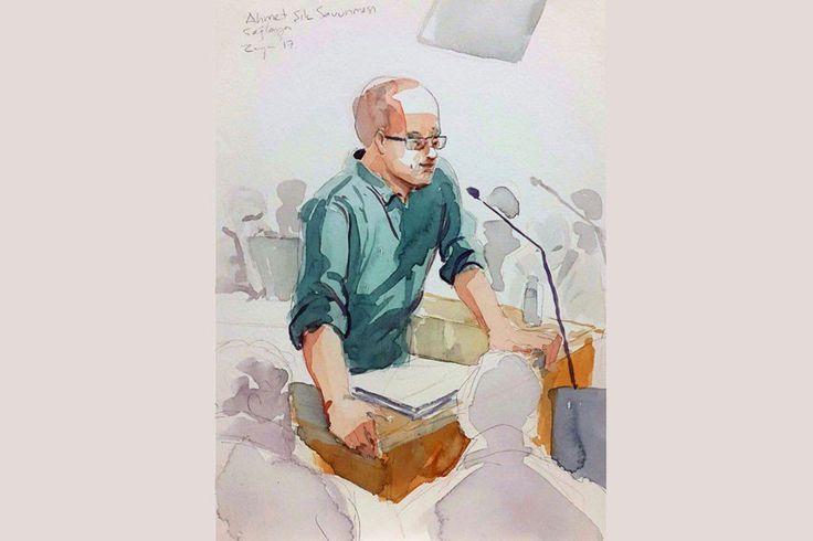 Cumhuriyet davasının ilk duruşmasının 3. gününde savunma yapan Tutuklu Gazeteci Ahmet Şık'ın savunmasının tam metni. (Çizim: Zeynep Özatalay)