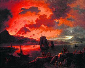 """Ewige Faszination: Goethe, Grillparzer und Nietzsche zog es in seine Nähe - und manchen Maler, wie unlängst im Museum Liechtenstein zu sehen.   Michael Wutky (1739-1822), """"Der Ausbruch des Vesuv über dem Golf von Neapel gesehen""""."""