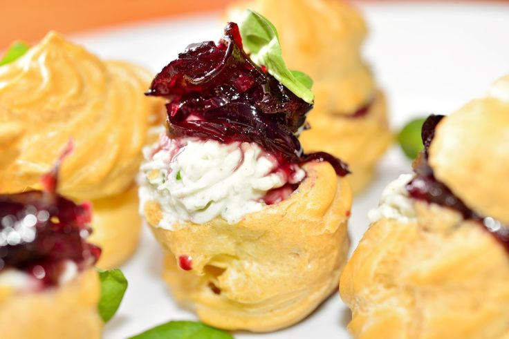 Mini-choux with Blue Cheese and Onion Jam
