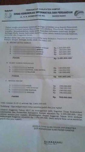 FAKTAPOST.COM : Surat Kontrak Media Diskominfo Kampar Heboh, Ini Penjelasan Nurhasani